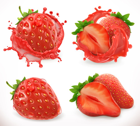 Illustration pour Strawberry juice. Fresh fruit, 3d realistic vector icon - image libre de droit