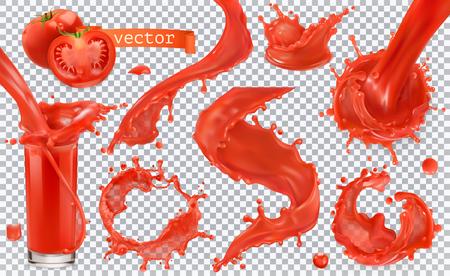 Ilustración de Red paint splash. Tomato, Strawberries. 3d realistic vector icon set - Imagen libre de derechos