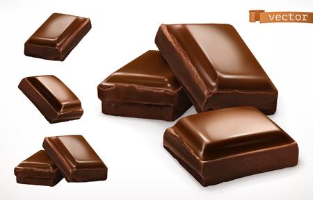 Illustration pour Chocolate pieces. 3d realistic vector icon - image libre de droit