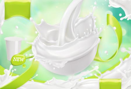 Vektor für White cream splash. Yoghurt, sour cream, sauce. 3d realistic vector, package design - Lizenzfreies Bild