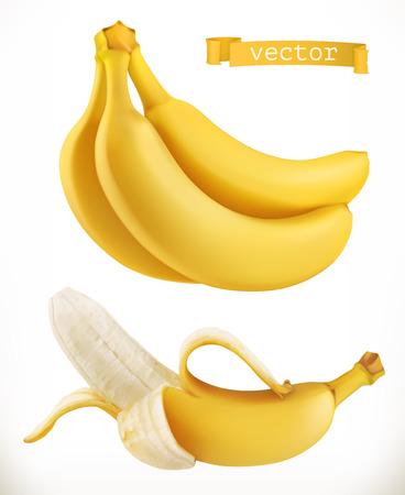 Illustration pour Bananas. Fresh fruit 3d realistic vector icon - image libre de droit