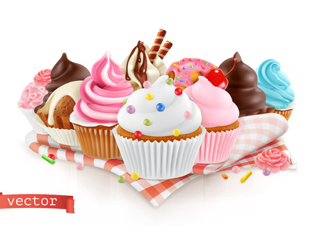 Illustration pour Pastry shop, confectionery. Sweet dessert. Cake, cupcake. 3d realistic vector - image libre de droit