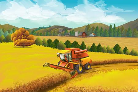 Illustration pour Farm, vector background. Rural landscape - image libre de droit