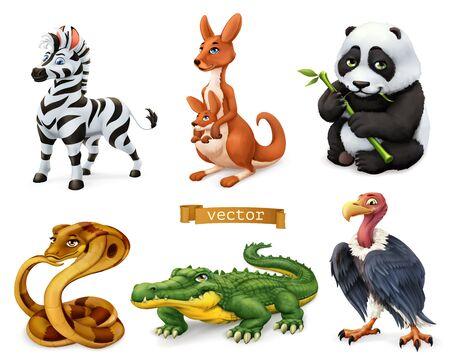 Illustration pour Funny animals. Zebra, kangaroo, panda bear, cobra snake, crocodile, vulture. 3d vector icon set - image libre de droit