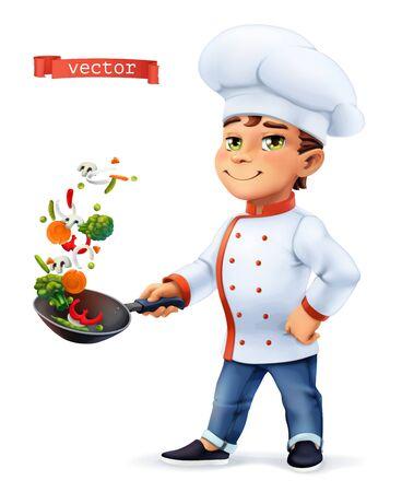 Ilustración de Little Cook. Comic character, vector illustration - Imagen libre de derechos