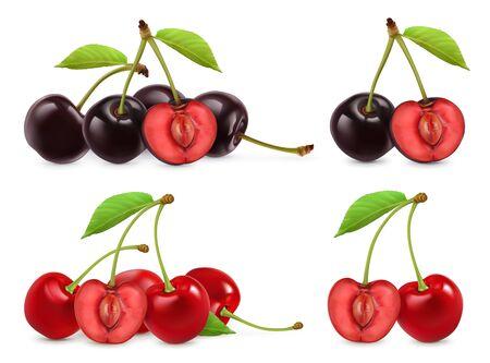 Ilustración de Cherries. Whole and half berries. 3d realistic vector set - Imagen libre de derechos
