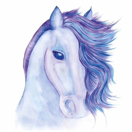 the head of a horse with developing mane painted with watercolors in shades of blue