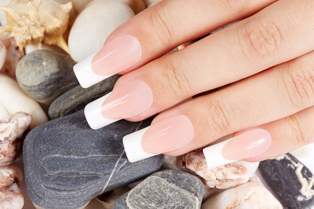 Nails with long artificial french manicure