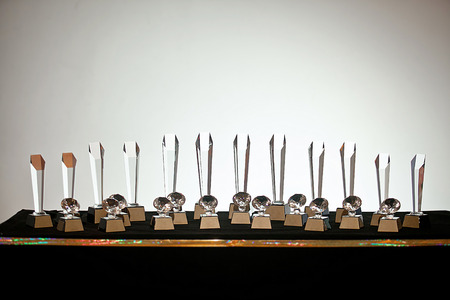 set of clear crystal glass trophy competition background