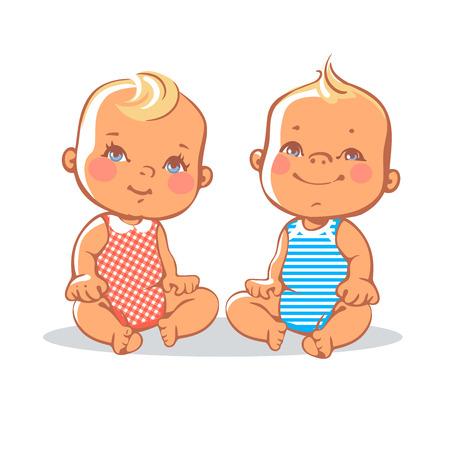 Illustration pour Smiling toddler boy and girl sitting. Portrait of happy smiling kids.  Blonde, blue eyes.  European children. Colorful illustration on white background - image libre de droit