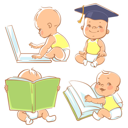 Foto de Set with genius babies in diapers. Cute boy reading book. Toddler in graduate cap. Baby with computer. Concept of  development of abilities of child and investment in the future of baby - Imagen libre de derechos