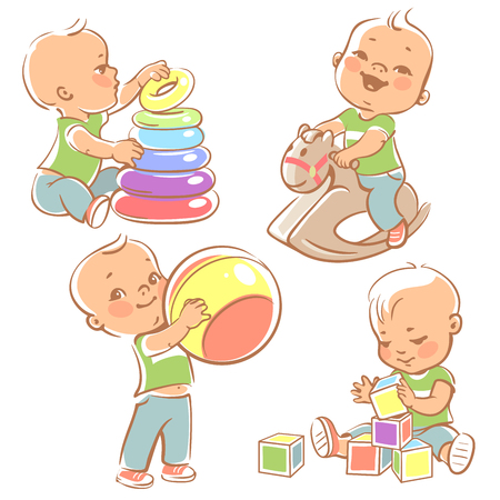 Illustration pour Children play with toys. Little baby boy riding a wooden horse.  Kid with pyramid, boy holding a ball. Baby builds a house with cubes. Toys and games for one year old kid. Colorful illustration. - image libre de droit