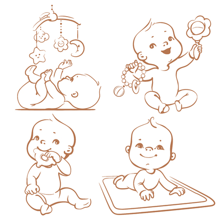 Foto de Set of babies playing toys. First year games. Baby hold teething toy. Baby lay on developing play mat  Baby look  at mobile toy. Sketchy monochrome vector Illustration isolated on white background - Imagen libre de derechos