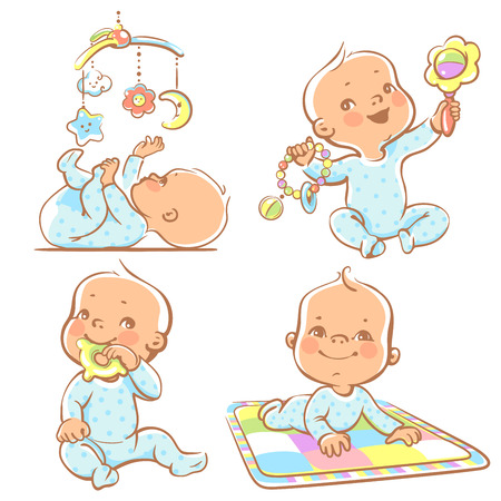 Foto de Set of babies playing toys. First year games. Baby hold teething toy. Baby lay on developing play mat  Baby look  at mobile toy.Colorful vector Illustration isolated on white background - Imagen libre de derechos