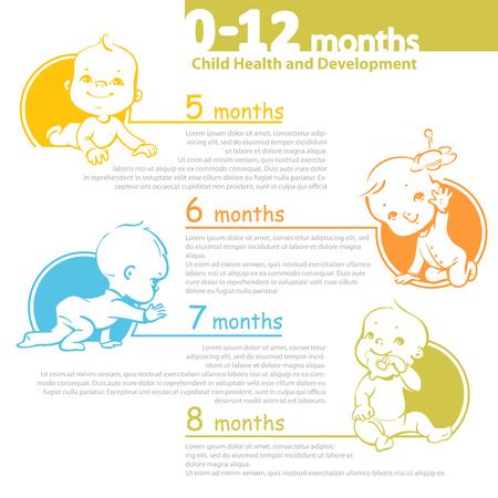 Ilustración de Set of child health and development icon.  Presentation of baby growth from newborn to toddler with text. - Imagen libre de derechos