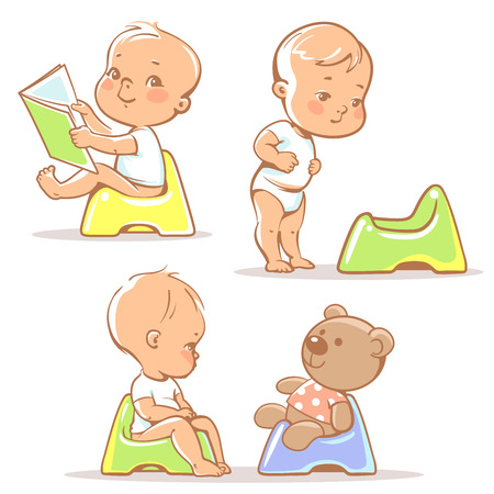 Foto de Set of cute little babies sitting on potty. Potty training illustration. Toddler learning to use potty.1 year old kid reading book. Happy baby with toy. Children vector isolated on white background. - Imagen libre de derechos