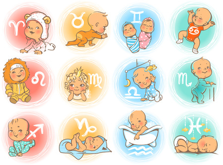 Ilustración de Set of zodiac icons. Horoscope signs as cartoon characters. Cute baby boys and girls as astrological symbol. Colorful vector illustration. Baby in diaper, crawling, sitting, smiling, sleeping baby. - Imagen libre de derechos