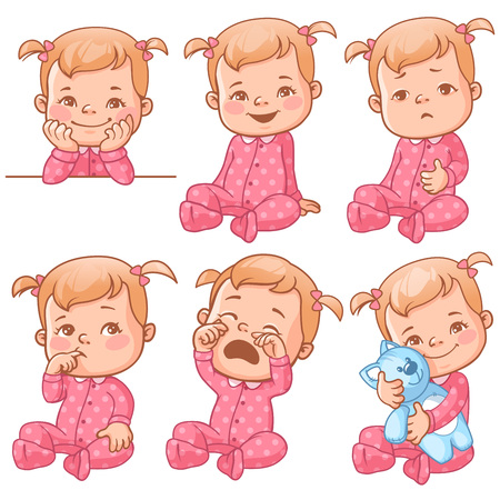 Illustration for Set with cute little baby girl in pink pajama with different emotions. Various face expressions. Happy child, crying girl, sick baby, one year old smiling toddler hold plush toy, sick  Colorful vector - Royalty Free Image