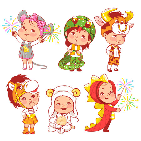 Illustration pour Cute little baby wear carnival costumes. Kindergarten masquerade. Preschool kids as animals. Mask of dragon, ox, mouse, snake, sheep, horse. Girls and boys play animals. Vector illustration. - image libre de droit