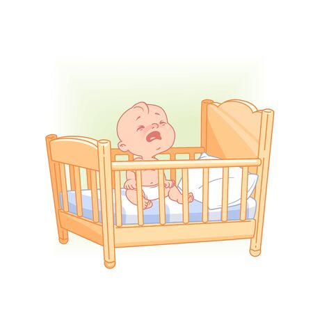 Illustration pour Cute little baby sit awake crying  in bed. - image libre de droit