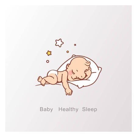 Ilustración de Cute little baby boy or girl sleeping. - Imagen libre de derechos