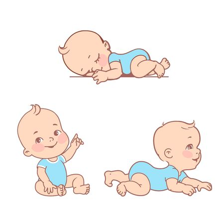 Illustration for Active baby of age from 3 months to year learn to crawl, move on his stomach. First year of child. Healthy baby play. - Royalty Free Image