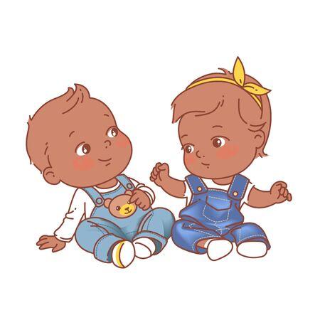 Ilustración de Denim baby fashion. African american twin babies. Dark skin kids. Twins of 6-12 months. Color vector illustration. - Imagen libre de derechos