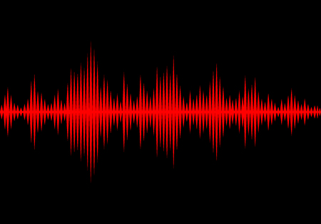 Illustration pour Sound waves oscillating glow light, Abstract technology background - Vector - image libre de droit