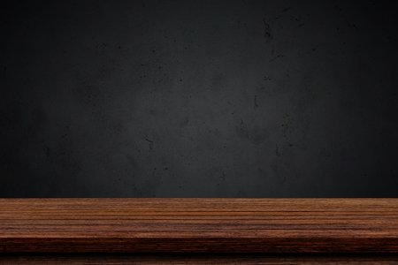 Foto de Empty wood table top with black background, Template mock up for display of product. - Imagen libre de derechos