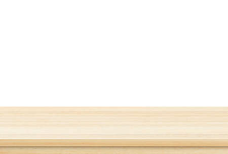 Photo for Empty brown wood table top isolated on white background . Template mock up for display of product - Royalty Free Image