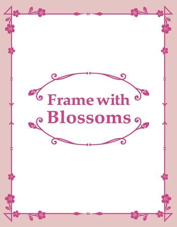 Ilustración de Ornamental frame with cherry blossoms. Vector illustration. - Imagen libre de derechos