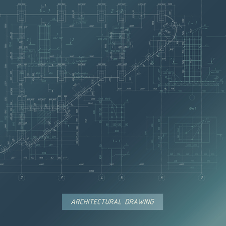 Architectural Blueprint, Building background illustration.