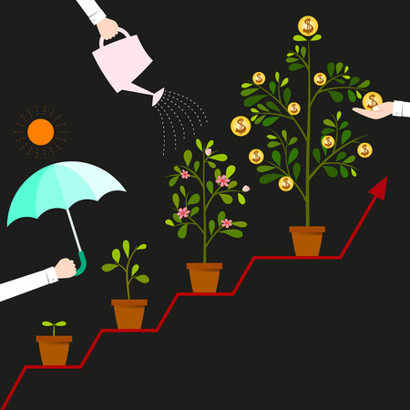 Illustration pour When you protect and take care your funding. It will be grow up and hight profit for your business. - image libre de droit