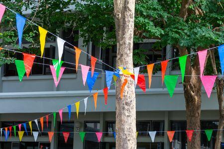 Foto de Multicolored triangular flag detail - Imagen libre de derechos