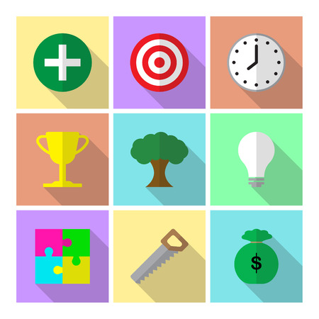 Illustration pour 9 Easy-To-Use Icons For Business And Self-Help Topic Illustrates All 7 Habits Of Highly Effective People That Lead To Life Success, Being Effective In Attaining Goals, Ethical Character, Paradigm Shift, Independence, Interdependence, Continuous Improvemen - image libre de droit