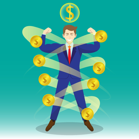Business Concept As A Full-Energy Muscular Businessman Is Surrounded By Golden Coins With Dollar Sign Above.