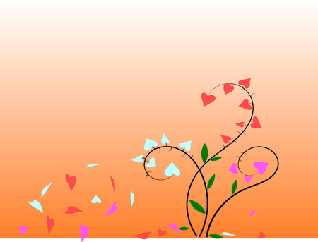 Illustration pour The tree with pink heart-shaped leaves, red, blue and leaves falling because of the wind, on orange background,vector and illustration. - image libre de droit