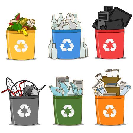 Illustration pour Colorful recycle bin organic, glass, e-waste, paper, plastic and metal. recycle concept - image libre de droit