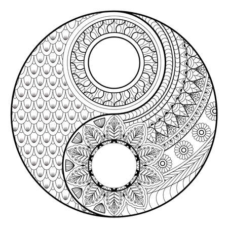 Illustration pour Coloring madalas. adult coloring . madalas coloring  on white background. Mandalas art therapy & healing. - image libre de droit