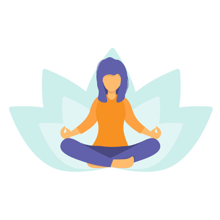 Illustration pour Woman meditating in nature and leaves. Girl doing yoga. Lotus pose the practice of meditation. The concept of healthy lifestyle. Relaxing and calm posture. Flat vector illustration.  - image libre de droit
