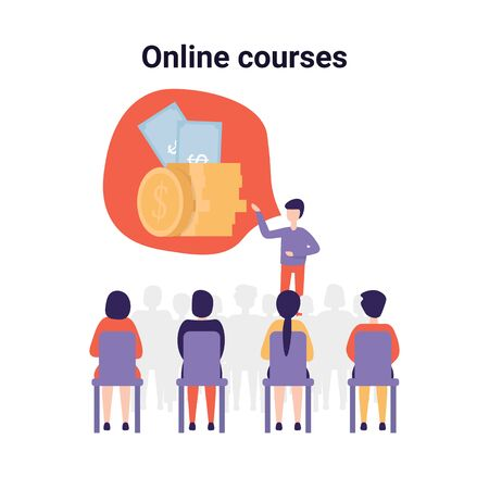 Illustration pour Training conference and couch lecture. Teacher and leader educates business audience. Money for developing your business. Flat vector concept illustration isolated on white background. - image libre de droit
