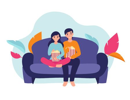 Illustration pour Couple woman and man at home sitting on sofa, watching movie and eating popcorn together. Flat vector cartoon illustration home comfort concept. - image libre de droit