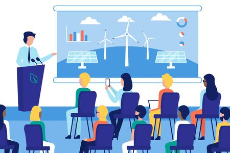 Illustration pour Agriculture solar energy conference. Speaker standing behind tribune. Presentation solar panels and windmills on screen. People in the audience. - image libre de droit