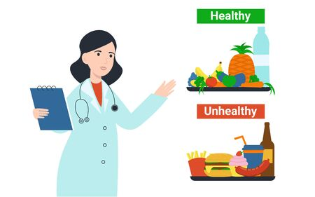 Illustration pour Nutritionist dietolog woman with healthy and unhealthy products food. Flat vector cartoon illustration isolated white background. - image libre de droit
