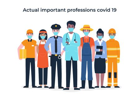 Illustration pour International Labor Day. Set people characters actual important professions covid 19. Coronavirus pandemic, epidemic. Flat vector cartoon modern illustration concept for banner, poster, layout. - image libre de droit