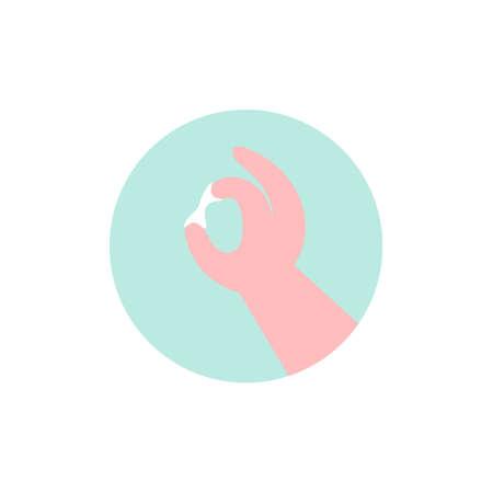 Illustration pour Vaginal discharge icon. Woman examines discharge. Flat vector illustration. - image libre de droit