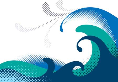 Ilustración de Halftone sea waves. Vector illustration - Imagen libre de derechos