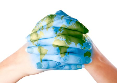 Foto de Map of world painted on hands. Isolated on white background - Imagen libre de derechos