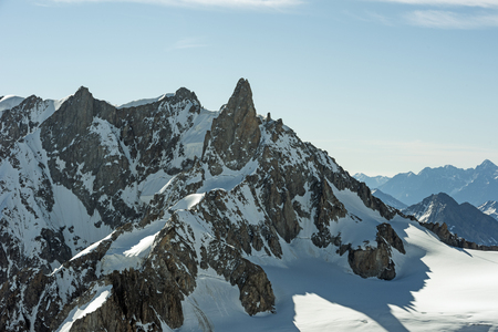 Morning light in the Alps, Le Dent du Geant and valle Blanche, Mont Blanc massif, Chamonix, Haute-Savoie, France
