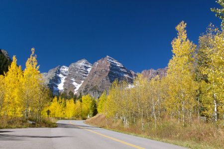 Road to Maroon Bells near Aspen Colorado